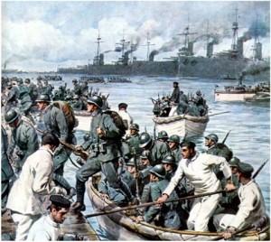Achille Beltrame_sbarco truppe italiane a Corfù settembre 1923_tavola per Domenica del Corriere
