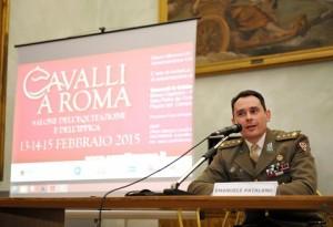 CAVALLI A ROMA - TENENTE COLONNELLO EMANUELE PATALANO COMANDANTE GRUPPO SQUADRONE A CAVALLO DEL REGGIMENTO LANCIERI DI MONTEBELLO