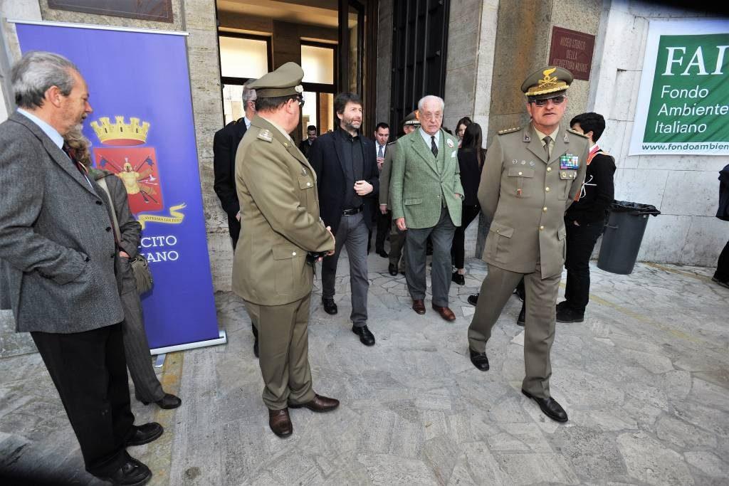 Il Ministro Franceschini e il Presidente Carandini all'ingresso del Museo