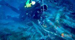 COMSUBIN: palombari in immersione in saturazione sul relitto del Veniero con Patrizia Maiorca